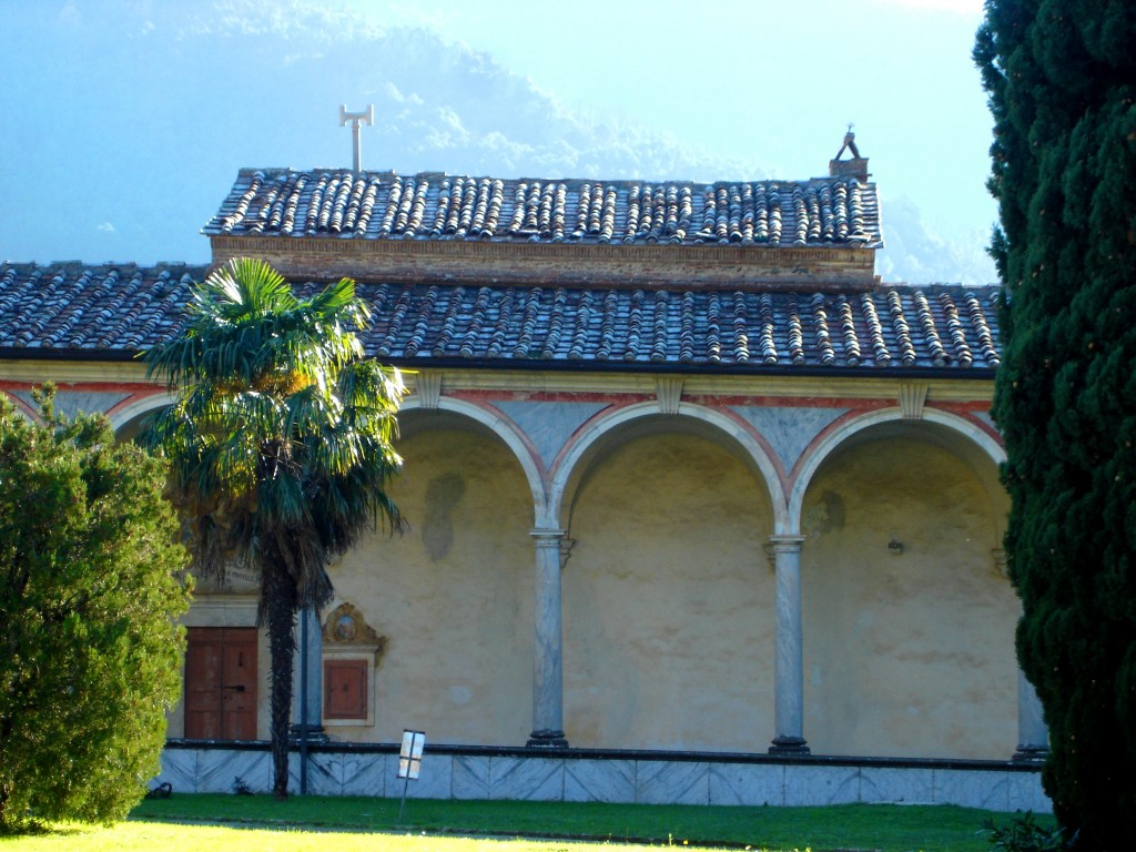 See the house or cell roof above the cloister wall.
